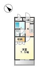 愛知県岡崎市宮地町字寺北の賃貸アパートの間取り