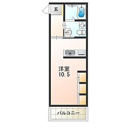江坂テネラ 3階ワンルームの間取り