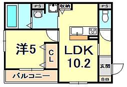 アルタイル・ヴィラ2 3階1LDKの間取り