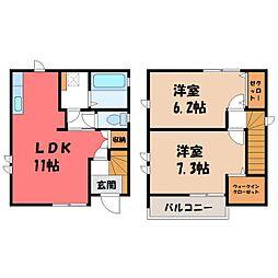 [一戸建] 栃木県下野市小金井4丁目 の賃貸【/】の間取り