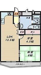 ターミナルマンション朝日プラザ堺[6階]の間取り