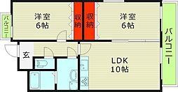 今福ロイヤルコート 5階2LDKの間取り