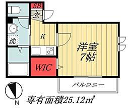 JR総武線 市川駅 徒歩17分の賃貸アパート 3階1Kの間取り