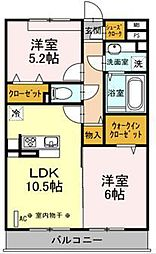 JR横浜線 中山駅 徒歩16分の賃貸アパート 3階2LDKの間取り