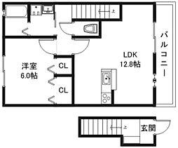 フラッツレディアンスA・B棟[2階]の間取り