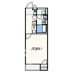 JR阪和線 和泉砂川駅 徒歩8分の賃貸アパート 2階1Kの間取り