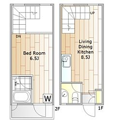 五本木アパートメント 1階1LDKの間取り