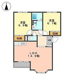 岡山県倉敷市玉島阿賀崎3丁目の賃貸アパートの間取り
