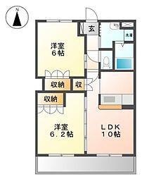 近鉄南大阪線 河内松原駅 3.2kmの賃貸マンション 2階2LDKの間取り