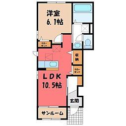 ルーチェ 1階1LDKの間取り