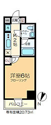 GENOVIA綾瀬skygarden 10階1Kの間取り