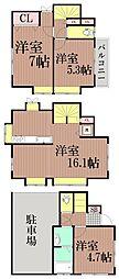 [一戸建] 東京都大田区大森西1丁目 の賃貸【/】の間取り