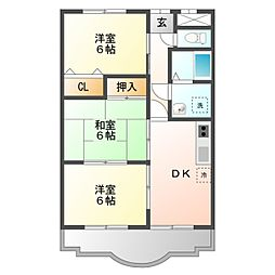 愛知県豊橋市三本木町字新東上の賃貸アパートの間取り