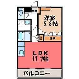茨城県筑西市二木成の賃貸アパートの間取り