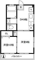 本吉マンション[301号室]の間取り
