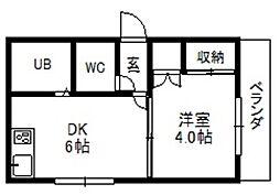 メゾンドール南4条[2階]の間取り