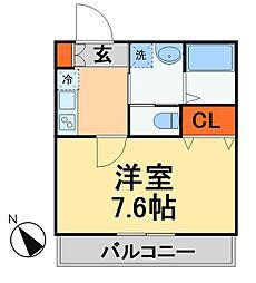 キャメル新松戸2A棟 3階1Kの間取り