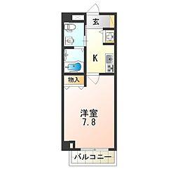 近鉄南大阪線 矢田駅 徒歩7分の賃貸マンション 6階1Kの間取り