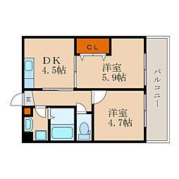 滋賀県長浜市大辰巳町の賃貸アパートの間取り