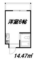 ジオナ柴島II 2階ワンルームの間取り