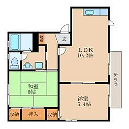 滋賀県野洲市西河原4丁目の賃貸アパートの間取り
