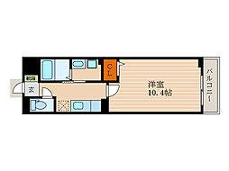 フォレストパーク・八番館 3階1Kの間取り