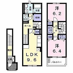 愛知県豊橋市下地町字橋口の賃貸アパートの間取り