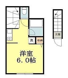 西武拝島線 小川駅 徒歩5分の賃貸アパート 2階ワンルームの間取り