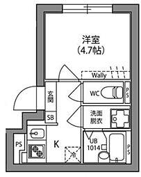 JR中央線 阿佐ヶ谷駅 徒歩13分の賃貸マンション 1階1Kの間取り