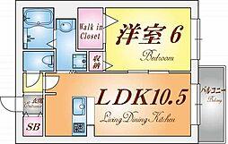 兵庫県神戸市兵庫区材木町の賃貸マンションの間取り