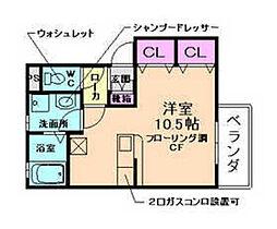 大阪府箕面市稲5丁目の賃貸アパートの間取り