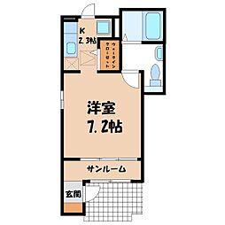 東武宇都宮線 新栃木駅 徒歩8分の賃貸アパート 1階1Kの間取り