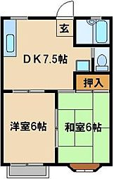 JR埼京線 与野本町駅 バス10分 白鍬電建住宅下車 徒歩3分の賃貸アパート 1階2DKの間取り