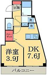 JR京葉線 蘇我駅 徒歩3分の賃貸マンション 1階1DKの間取り