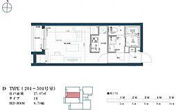福岡市地下鉄七隈線 渡辺通駅 徒歩9分の賃貸マンション 4階ワンルームの間取り