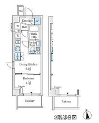 東京メトロ丸ノ内線 中野坂上駅 徒歩3分の賃貸マンション 5階1DKの間取り
