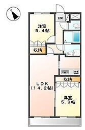 千葉県白井市西白井4丁目の賃貸マンションの間取り