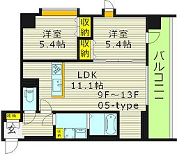 WOB京橋 9階2LDKの間取り