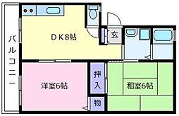 パナハイツKITAYO B棟[2階]の間取り