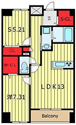 F・D VILLE 12階2LDKの間取り