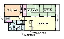 大阪府豊中市走井1丁目の賃貸マンションの間取り