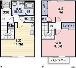 愛知県豊田市大林町14丁目の賃貸アパートの間取り