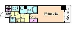 JR大阪環状線 野田駅 徒歩6分の賃貸マンション 2階1Kの間取り