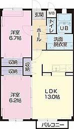 静岡県袋井市宇刈の賃貸アパートの間取り