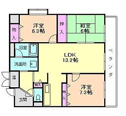 大阪府豊中市北緑丘2丁目の賃貸マンションの間取り