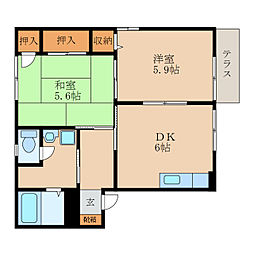 サンドミールA[1階]の間取り