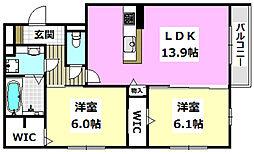 JR東海道・山陽本線 千里丘駅 徒歩10分の賃貸アパート 1階2LDKの間取り