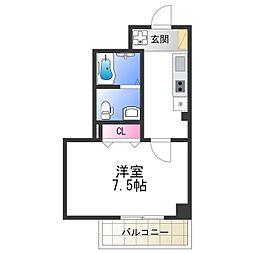Osaka Metro谷町線 阿倍野駅 徒歩2分の賃貸マンション 6階1Kの間取り