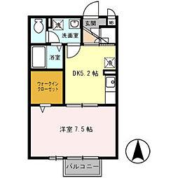 南海高野線 萩原天神駅 徒歩7分の賃貸アパート 1階1DKの間取り