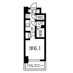 スプランディッド天王寺DUE 11階1Kの間取り